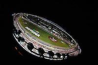 Jul. 5, 2008; Daytona Beach, FL, USA; NASCAR Sprint Cup Series drivers go through the tri-oval during the Coke Zero 400 at Daytona International Speedway. Mandatory Credit: Mark J. Rebilas-