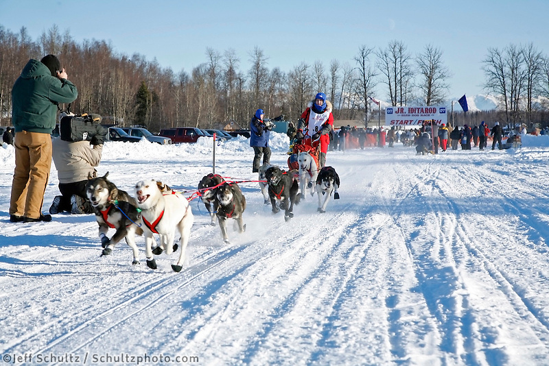 Saturday, February 24th, Knik, Alaska.  Jr. Iditarod musher Jessica Klejka leaves start line on Knik Lake