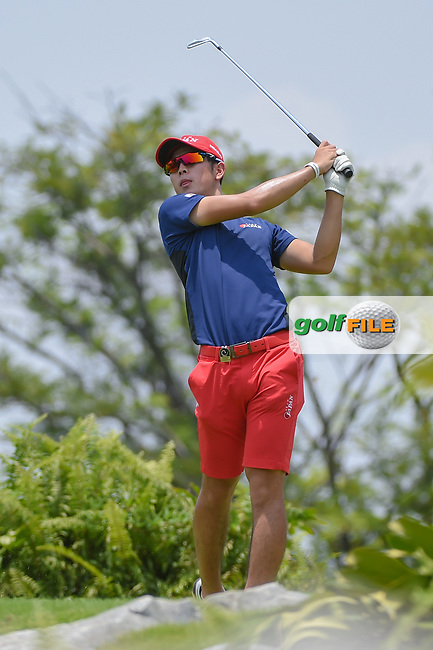 Keita NAKAJIMA (JPN) watches his tee shot on 4 during Rd 2 of the Asia-Pacific Amateur Championship, Sentosa Golf Club, Singapore. 10/5/2018.<br /> Picture: Golffile | Ken Murray<br /> <br /> <br /> All photo usage must carry mandatory copyright credit (© Golffile | Ken Murray)