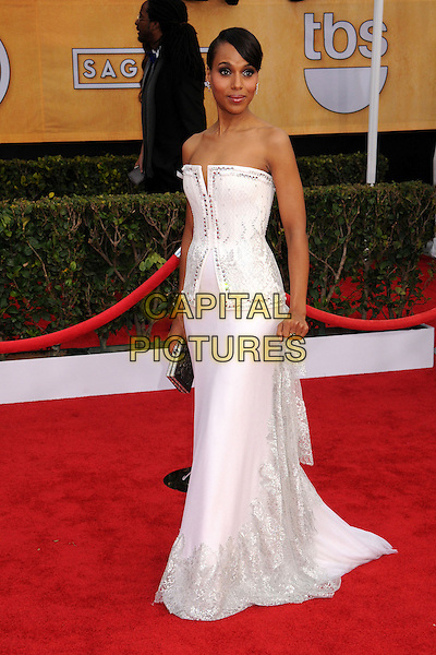 Kerry Washington (wearing Rodarte).Arrivals at the 19th Annual Screen Actors Guild Awards at the Shrine Auditorium in Los Angeles, California, USA..27th January 2013.SAG SAGs full length white dress strapless gown structured bodice .CAP/ADM/BP.©Byron Purvis/AdMedia/Capital Pictures