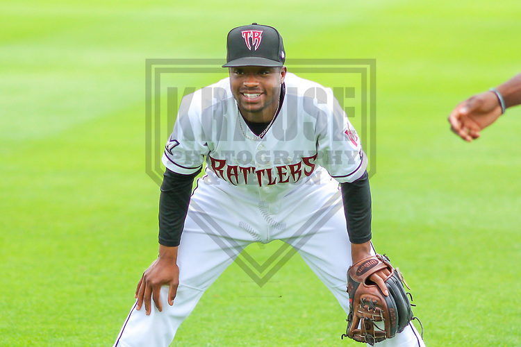 Wisconsin Timber Rattlers shortstop Devin Hairston (1) warms up prior to a Midwest League game against the Burlington Bees on July 10, 2017 at Fox Cities Stadium in Appleton, Wisconsin.  Burlington defeated Wisconsin 6-3. (Brad Krause/Krause Sports Photography)