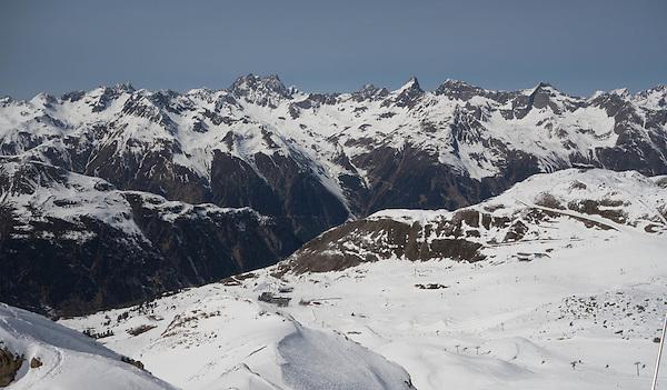 Looking sown to Idalp at Ischgl Ski Area, Austria