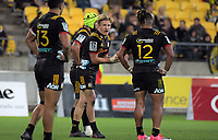 Chiefs flyhalf Damien McKenzie talks to his backs during the Super Rugby match between the Hurricanes and Chiefs at Westpac Stadium in Wellington, New Zealand on Friday, 13 April 2018. Photo: Dave Lintott / lintottphoto.co.nz