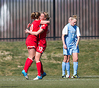 Caroline Miller (10) of the Washington Spirit celebrates her goal with teammate Julia Roberts (13) during the game at the Maryland SportsPlex in Boyds, MD.  The Washington Spirit defeated the North Carolina Tar Heels in a preseason exhibition, 2-0.
