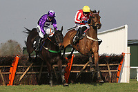 """Race winner Diamond Sweeper ridden by Wayne Hutchinson (R) jumps the last alongside Ballylifen ridden by Will Kennedy in the Call Star Sports On 08000 521321 """"National Hunt"""" Novices Hurdle"""