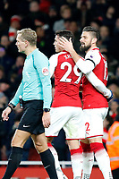 GOAL - Olivier Giroud of Arsenal celebrates with GranitXhaka during the Premier League match between Arsenal and Huddersfield Town at the Emirates Stadium, London, England on 29 November 2017. Photo by Carlton Myrie / PRiME Media Images.