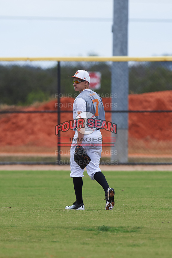 Hunter Laurell (7) of Lakeland, Florida during the Baseball Factory All-America Pre-Season Rookie Tournament, powered by Under Armour, on January 13, 2018 at Lake Myrtle Sports Complex in Auburndale, Florida.  (Michael Johnson/Four Seam Images)