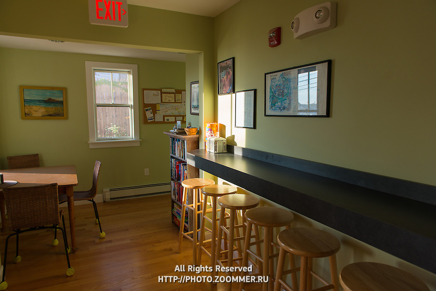 Typical Cape Cod style interior in Hi-Hyannis hostel in Hyannis