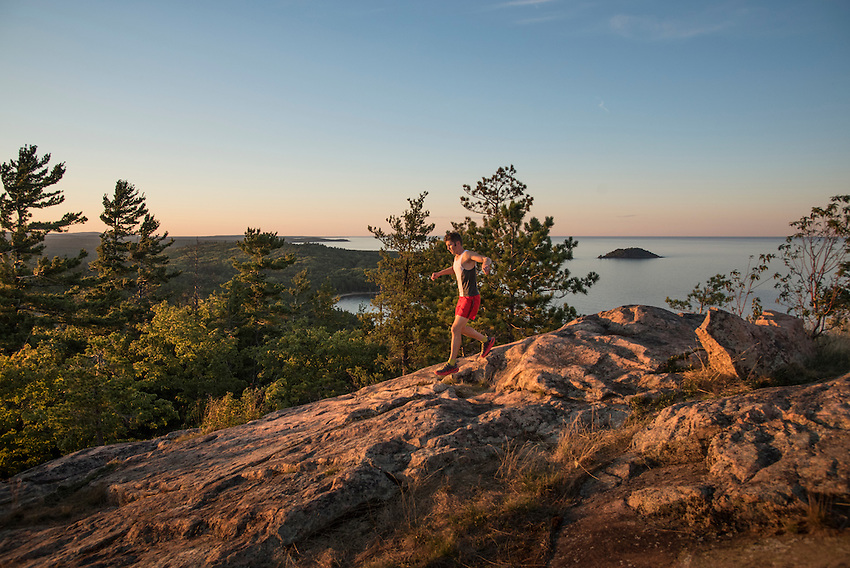 Trail running at Sugarloaf Mountain near Marquette, Michigan.