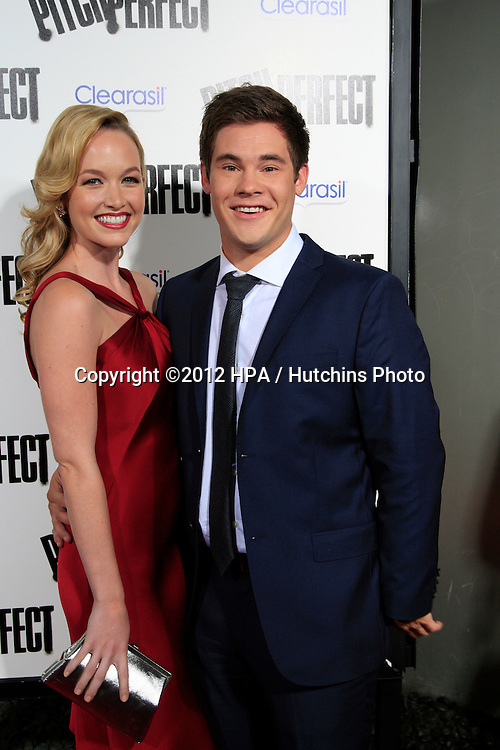 """LOS ANGELES - SEP 24:  Kelley Jakle, Adam DeVine arrives at the """"Pitch Perfect'"""" Premiere at ArcLight Cinemas on September 24, 2012 in Los Angeles, CA"""