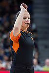 Referee Anne Panther during Turkish Airlines Euroleague match between Real Madrid and Olympiacos Piraeus at Wizink Center in Madrid , Spain. February 09, 2018. (ALTERPHOTOS/Borja B.Hojas)