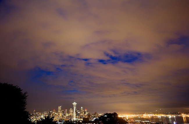 At dusk, the skyline and environs of the city of Seattle, Washington