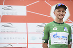 Green Jersey Stepan Kuriyanov (RUS) Gazprom–Rusvelo signs on before the start of Stage 6 of the 2019 UAE Tour, running 175km form Ajman to Jebel Jais, Dubai, United Arab Emirates. 1st March 2019.<br /> Picture: LaPresse/Fabio Ferrari | Cyclefile<br /> <br /> <br /> All photos usage must carry mandatory copyright credit (© Cyclefile | LaPresse/Fabio Ferrari)