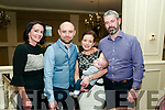 Baby Conor Philips, son of Lynda & Cormac Philips, Duagh and god parents Mairead & Derry Buckley who was christened in Duagh Church  by Fr. Jack O'Donnell on Saturday last and afterwards at the Listowel Arms Hotel.