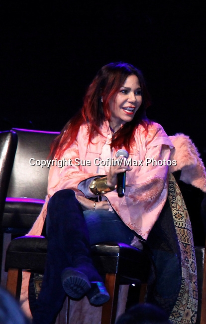 Daphne Rubin Vega gets original member Jessie L. Martin on the phone from Toronto and he talks to the audience and Rent celebrates 20 years - all attending the first ever 3-day Broadway Con on January 22 - 24, 2016 at the Hilton Hotel, New York City, New York. (Photo by Sue Coflin/Max Photos)