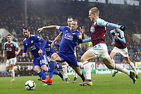 Burnley's Matej Vydra (right) vies for possession with Leicester City's Jonny Evans<br /> <br /> Photographer Rich Linley/CameraSport<br /> <br /> The Premier League - Burnley v Leicester City - Saturday 16th March 2019 - Turf Moor - Burnley<br /> <br /> World Copyright © 2019 CameraSport. All rights reserved. 43 Linden Ave. Countesthorpe. Leicester. England. LE8 5PG - Tel: +44 (0) 116 277 4147 - admin@camerasport.com - www.camerasport.com