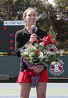 STANFORD, CA - April 9, 2011:  Senior Carolyn McVeigh before Stanford's 5-2 victory over Washington at Stanford, California on April 9, 2011.