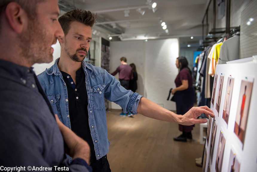 UK. London. 14th February 2013..Designer Adam Selman prepping his upcoming show at London Fashion Week..©Andrew Testa for the New York Times