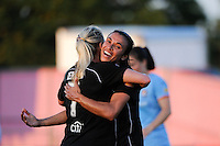 Marta (10) of the Western New York Flash celebrates scoring with McCall Zerboni (7). The Western New York Flash defeated Sky Blue FC 4-1 during a Women's Professional Soccer (WPS) match at Yurcak Field in Piscataway, NJ, on July 30, 2011.