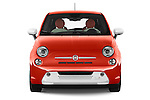 Car photography straight front view of a 2014 Fiat 500e 3 Door Hatchback Front View