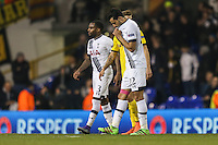 Nacer Chadli of Tottenham Hotspur (left) and Danny Rose of Tottenham Hotspur (left) look dejected after defeat after the UEFA Europa League match between Tottenham Hotspur and Borussia Dortmund at White Hart Lane, London, England on 17 March 2016. Photo by David Horn / PRiME Media Images