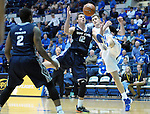 March 1, 2016 - Colorado Springs, Colorado, U.S. -   Utah State forward, Lew Evans #12, and Falcon center, Zach Moer #41, battle for a loose ball during an NCAA basketball game between the Utah State University Aggies and the Air Force Academy Falcons at Clune Arena, United States Air Force Academy, Colorado Springs, Colorado.  Utah State defeats Air Force 78-65.