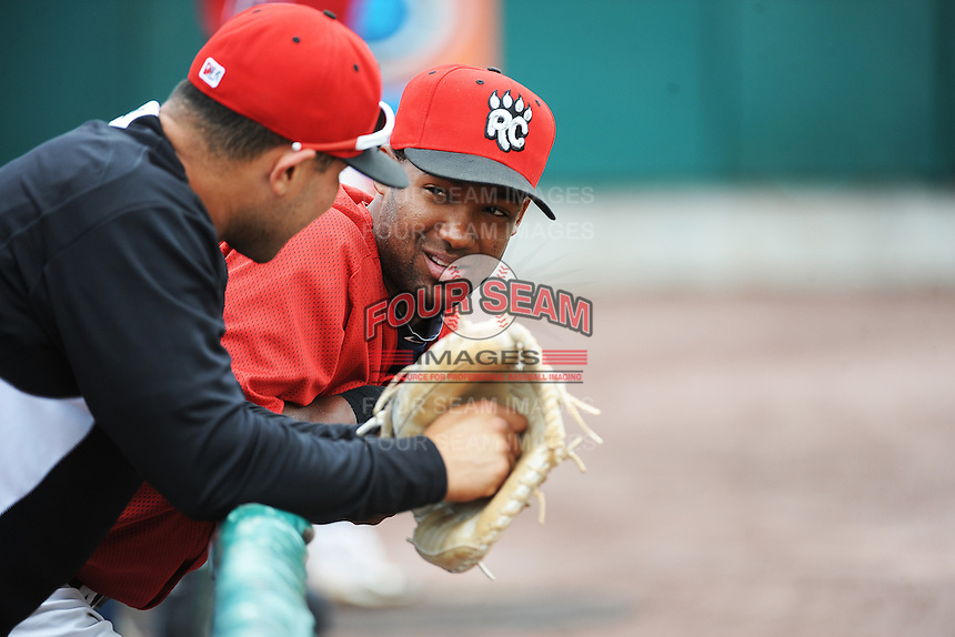 New Britain Rock Cats infielder Danny Santana (1) and Josmil Pinto (36) during game against the Binghamton Mets at New Britain Stadium on May 23 2013 in New Britain, Connecticut.  New Britain defeated Binghamton 1-0.  Tomasso DeRosa/Four Seam Images