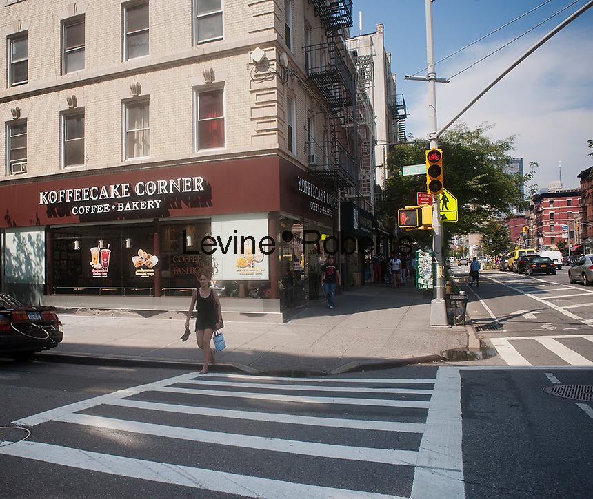 The Koffeecake Corner coffee shop and bakery cafe in the New York neighborhood of Chelsea is seen on Thursday, July 26, 2012.  (© Richard B. Levine)