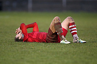 Despair for Mickey Parcell of Hornchurch after his team concede a late goal to make it 2-2 during Hornchurch vs Merstham, BetVictor League Premier Division Football at Hornchurch Stadium on 15th February 2020