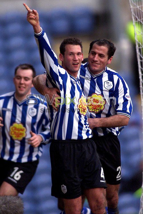 Pix, Shaun Flannery/SWpix. Nationwide League Division One..Burnley v Sheffield Wednesday,19/01/2002..COPYRIGHT PICTURE>>SIMON WILKINSON>>01943 - 436649>>..Wednesday's Paul McLaren celebrates his goal with team mate Shefki Kuqi.