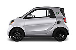 Car driver side profile view of a 2018 Smart fortwo prime coupe 3 Door micro car