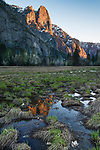 Sun-lit Sentinel Rocks reflected in a vernal pool in the meadow. Yosemite Valley