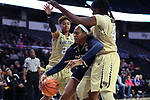 WINSTON-SALEM, NC - DECEMBER 31: Notre Dame's Kristina Nelson (21) is defended by Wake Forest's Ariel Stephenson 25) and Tyra Whitehead (42). The Wake Forest University Demon Deacons hosted the Notre Dame University Fighting Irish on December 31, 2017 at Lawrence Joel Veterans Memorial Coliseum in Winston-Salem, NC in a Division I women's college basketball game. Notre Dame won the game 96-73.
