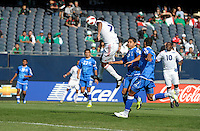 Cuba's Marcel Hernandez sends a header on goal.  El Salvador defeated Cuba 6-1 at the 2011 CONCACAF Gold Cup at Soldier Field in Chicago, IL on June 12, 2011.