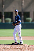 San Diego Padres relief pitcher Miguel Rondon (39) gets ready to deliver a pitch during an Instructional League game against the Los Angeles Dodgers at Camelback Ranch on September 25, 2018 in Glendale, Arizona. (Zachary Lucy/Four Seam Images)