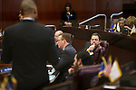 Nevada Senate Majority Leader Michael Roberson, R-Las Vegas, center, listens as Senate Minority Leader Aaron Ford, D-Las Vegas, speaks on the Senate floor at the Legislative Building, in Carson City, Nev., on Friday, Feb. 20, 2015. <br /> Photo by Cathleen Allison