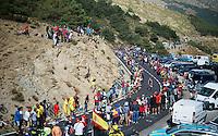 Jasper De Buyst (BEL/Lotto-Soudal) coming up the Puerto de la Morcuera (1770m/6,6%/10.4km) <br /> <br /> stage 20: San Lorenzo de el Escorial - Cercedilla (176km)<br /> 2015 Vuelta à Espana