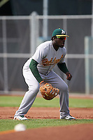 Oakland Athletics Sandber Pimentel (14) during an instructional league game against the San Francisco Giants on October 12, 2015 at the Giants Baseball Complex in Scottsdale, Arizona.  (Mike Janes/Four Seam Images)