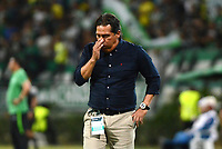 MEDELLÍN - COLOMBIA, 17-03-2018: Flabio Torres técnico de Deportivo Pasto  gesticula durante partido con Atlético Nacional por la fecha 9 de la Liga Águila I 2018 jugado en el estadio Atanasio Girardot de la ciudad de Medellín. / Flabio Torres coach of Deportivo Pasto  gestures during match against Atletico Nacional for the date 9 of the Aguila League I 2018 at Atanasio Girardot stadium in Medellin city. Photo: VizzorImage/León Monsalve/Cont