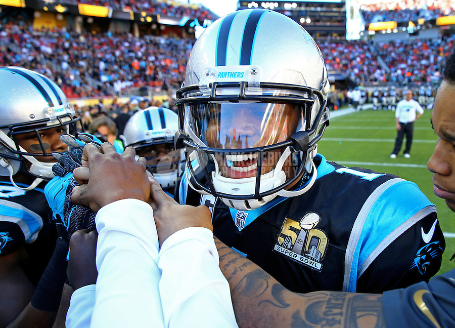 Feb 7, 2016; Santa Clara, CA, USA; Carolina Panthers quarterback Cam Newton (1) reacts in the huddle with teammates before Super Bowl 50 against the Denver Broncos at Levi's Stadium. Mandatory Credit: Mark J. Rebilas-USA TODAY Sports