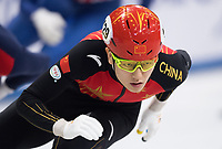1st February 2019, Dresden, Saxony, Germany; World Short Track Speed Skating; 500 meter men in the EnergieVerbund Arena. Jia Haidong from China runs in a curve.