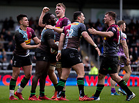 Harlequins' Gabriel Ibitoye celebrates scoring his sides second try with team mates<br /> <br /> Photographer Bob Bradford/CameraSport<br /> <br /> Premiership Rugby Cup Semi Final - Exeter Chiefs v Harlequins - Sunday 2nd February 2020 - Sandy Park - Exeter<br /> <br /> World Copyright © 2018 CameraSport. All rights reserved. 43 Linden Ave. Countesthorpe. Leicester. England. LE8 5PG - Tel: +44 (0) 116 277 4147 - admin@camerasport.com - www.camerasport.com