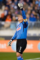 Faryd Mondragon (1) of the Philadelphia Union reacts to a bad goal kick during the game at PPL Park in Chester, PA.  Houston defeated Philadelphia, 2-1, to take home the one goal advantage in the home and home series..