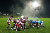 Steam rises from the 2 forward packs as they prepare to pack down in a scrum near the touchline. Counties Manuaku Steelers vs Northland pre-season Air New Zealand NPC rugby game played at Bayer Growers Stadium Pukekohe on July 24th 2009..Northland won 10 - 3.