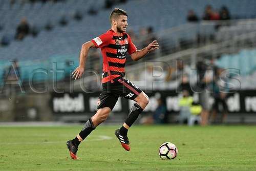 April 8th 2017, ANZ Stadium, Sydney, Australia; A-League football, Western Sydney Wanderers versus Melbourne Victory; Wanderers midfielder Terry Antonis in action; The match  ended in a 0-0 draw;