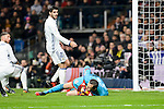 Real Madrid Alvaro Morata and Deportivo de la Coruña Tyton during La Liga match between Real Madrid and Deportivo de la Coruña at Santiago Bernabeu Stadium in Madrid, Spain. December 10, 2016. (ALTERPHOTOS/BorjaB.Hojas)