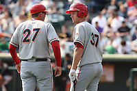 April 11, 2010:  First overall draft pick of the 2009 MLB Draft Stephen Strasburg (37) talks to manager Randy Knorr (27) before his second at bat while making his professional debut with the Harrisburg Senators, Double-A affiliate of the Washington Nationals, in a game vs. the Altoona Curve, affiliate of the Pittsburgh Pirates, at Blair County Ballpark in Altoona, PA.  Photo By Mike Janes/Four Seam Images