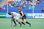 The Hague, Netherlands, June 03: Andy Hayward #5 of New Zealand battles for the ball with Lungile Tsolekile #22 of South Africa during the field hockey group match (Men - Group B) between South Africa and the Black Sticks of New Zealand on June 3, 2014 during the World Cup 2014 at GreenFields Stadium in The Hague, Netherlands. Final score 0:5 (0:3) (Photo by Dirk Markgraf / www.265-images.com) *** Local caption ***