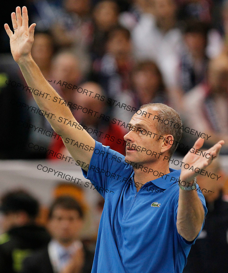 French Davis Cup team captain Guy Forget,  react during second match of the Davis Cup finals Serbia vs France against Novak Djokovic in Belgrade Arena in Belgrade, Serbia, Friday, 3. December 2010. (credit & photo: Srdjan Stevanovic/Starsportphoto.com)