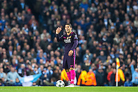 Luis Suarez of Barcelona tries to hurry things along as Man City celebrate there 3rd goal during the UEFA Champions League match between Manchester City and Barcelona at the Etihad Stadium, Manchester, England on 1 November 2016. Photo by Andy Rowland / PRiME Media Images.